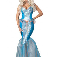 Blue Mermaid Princess Dress Costume