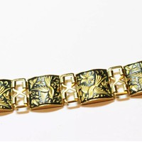 Beautiful Vintage Damascene Bracelet, Mid Century Spanish Damascene Featuring Beautiful Birds & Nature Paneled Link Bracelet