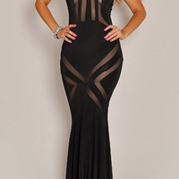 Halter Mesh Floor-Length Dress