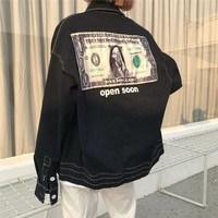 Unisex Personality Dollar Pattern Patch Long Sleeve Loose Cardigan Couple Denim Jacket Coat