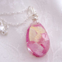Pink teardrop necklace - wire wrapped - real pink roses - sterling silver - flower resin jewelry - nature jewelry - wedding jewelry