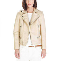 Beige Leather Jacket with Zipper