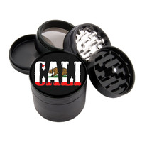 "Cali Bear Flag Design - 2.25"" Premium Black Herb Grinder - Custom Designed"