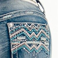 Grace in LA Jeans Bootcut with Colorful Aztec Pocket JB6861