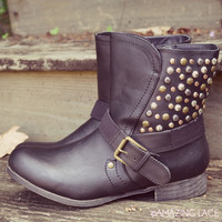 Durango Black Studded Ankle Boots