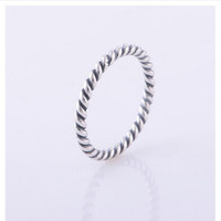 Rope style silver ring Compatible with MEIJIA Jewelry With clear CZ Original Authentic 925 Sterling Silver Ring DIY