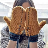 FunShop Patchwork Mitten Gloves with Rivets Detail for Women F1104