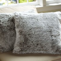 Faux-Fur Gray Lynx Pillow Cover, 18""
