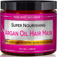 Argan Oil Hair Mask, 8 oz. Hair Treatment Therapy, Deep Conditioner for Damaged & Dry Hair, Heals & Restructures Hair Shaft & Growth, Detoxifies Scalp & Nourishes, Removes Products Residue Buildup