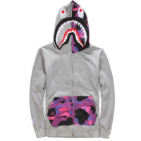 BAPE Grey and Purple Camo Shark Hoodie