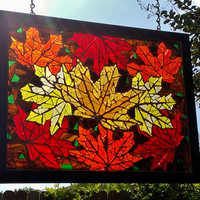 Glass on Glass Mosaic Stained Glass Fall Leaf Mosaic Glass Art Autumn Orange Yellow Sun Catcher Stained Glass Panel Ready to Ship Gift Idea
