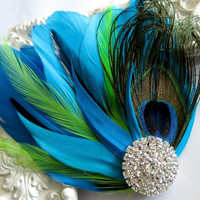 Bride Bridesmaid Feather Hair Accessory, Feather Fascinator, Bridal, Hair PIece,Peacock, Green, Blue Feather, Hair Clip