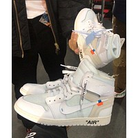 Air Jordan AJ1 x Off White high-top sports basketball shoes white