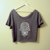 Hamsa Crop Top Yoga Top Workout T-Shirt Hand of Fatima Grey Cut Out Graphic Tee Fitness Zen T-Shirts  Christmas Gift For Her