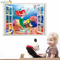 the little mermaid wall stickers for kids rooms 1424. home decoration diy 3d window sticker wall decal for girls room 2.0