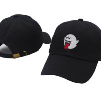 Cute Unique Black Ghost Embroidered Outdoor Baseball Cap Hats