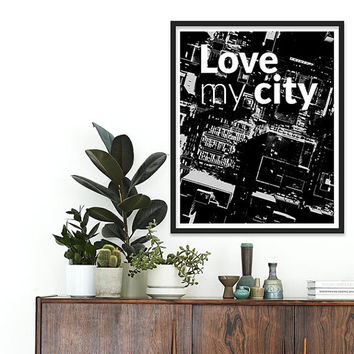 City New York Buildings I Love NY NYC Typographic Poster Black and White Manhattan skyline cityscape Travel poster City Love MODERN decor