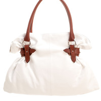 Ibiza-White Leather Hobo Bag-Brown Handles