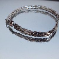 """Celtic Woven Style Sterling Silver Bracelet, 7 Inch, 3/16"""" Wide, Fine Precious Metal Ladies Jewelry, Free Shipping and Gift Box"""
