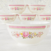 Cottage Style Pink Melamine Bowls, Set of 6, French Country, Shabby Chic, Tea Party, Wedding Bridal
