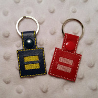 Equality Equal Rights Embroidered Vinyl Keychain