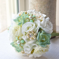 Mint Bridesmaid and Bridal Bouquet, spring wedding, bridal, mint bouquet, jeweled bouquet, handmade, summer, ivory, white, brooch WBQ8
