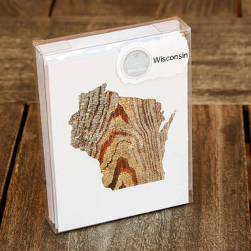 Wisconsin or any US state shape map cutout wood texture photography blank note cards. Box/12. Die cut, Thank You, Country Chic, Rustic