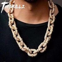 TOPGRILLZ 17mm Miami Cuban Chain Necklace With Iced Out Carabiner Clip Chain Micro Pave Cubic Zirconia Hip Hop Jewelry For Gift  - jewelry fall 2021