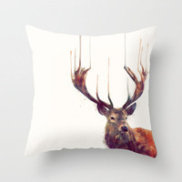 Red Deer // Stag Throw Pillow by Amy Hamilton | Society6