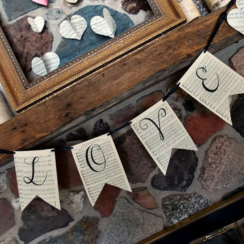 Vintage LOVE Banner - Wedding Banner - Valentines Day Banner - Shabby Chic - Rustic Decor - Rustic Wedding - Rustic Banner - Love