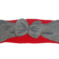 Wide Red and Gray Bow Headband Womens Hair Accessory One Size