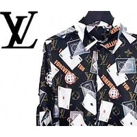 LV Louis Vuitton Autumn Fashion Men Women Print Emulation Silk Long Sleeve Lapel Shirt Top