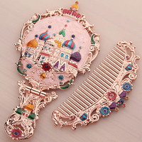 Russian Handle Small Mirror With Comb Set Retro Portable Portable Makeup Mirror Foldable Desktop Princess Mirror