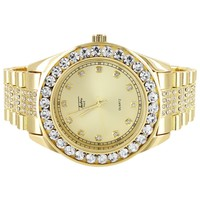 Solitaire Bezel Men's Gold Finish Presidential Look Iced Watch