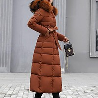 Bella Philosophy 2018 Winter New Coat Jacket long Fashion Jacket Women Thick Down Parka female Slim Fur Collar Warm Cotton Coat