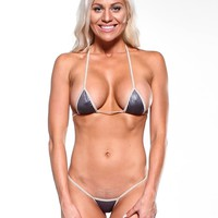 Solid Dark Silver Sexy Micro G-String Thong Bikini Mini Thong Small Top w Nude