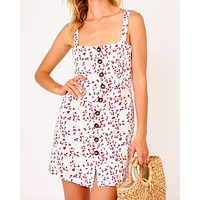 Final Sale - Olivaceous - Cherry Tank Dress in White