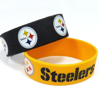 Pittsburgh Steelers 2pk Rubber Bracelets