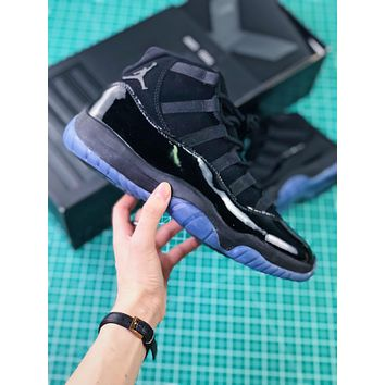 Air Jordan 11 Cap And Gown 378037-005 Black Sport Basketball Shoes