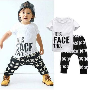 Tops + Harem Letter White Cotton Pants 2pcs Set Boys 0-5Y 2pcs Clothes Sets 2016 Summer Baby Boy Clothing Toddler Casual T-shirt