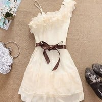One Shoulder Pleated Chiffon Dress (in 3 Colors)