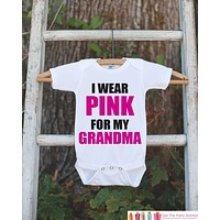 Kid's Cancer Awareness Outfit - I Wear Pink For Grandma Onepiece or Tshirt - Race Team Outfit - Fight Cancer Shirt for Babies, Toddlers