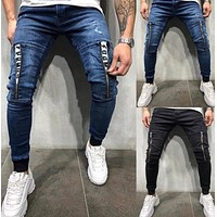 2020 new products men's personality zipper decoration casual tie jeans