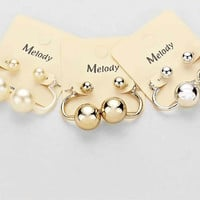 6 Pearl Stud Earrings