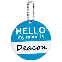 Deacon Hello My Name Is Round ID Card Luggage Tag