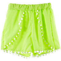 Lime Elastic Shorts with Poms Deco