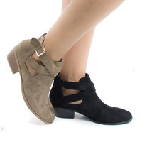 Manny30 Casual Criss Cross Buckled Strap Ankle Heeled Boots