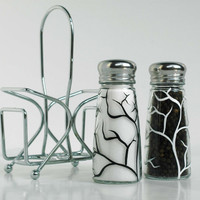 White and Black Tree Branch Salt and Pepper