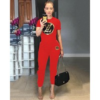 LV Louis Vuitton Fashion Women Leisure Sequins Print Top Pants Two-Piece Set Red