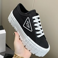 PRADA New Canvas Embroidered Letters Ladies Platform Casual Shoes